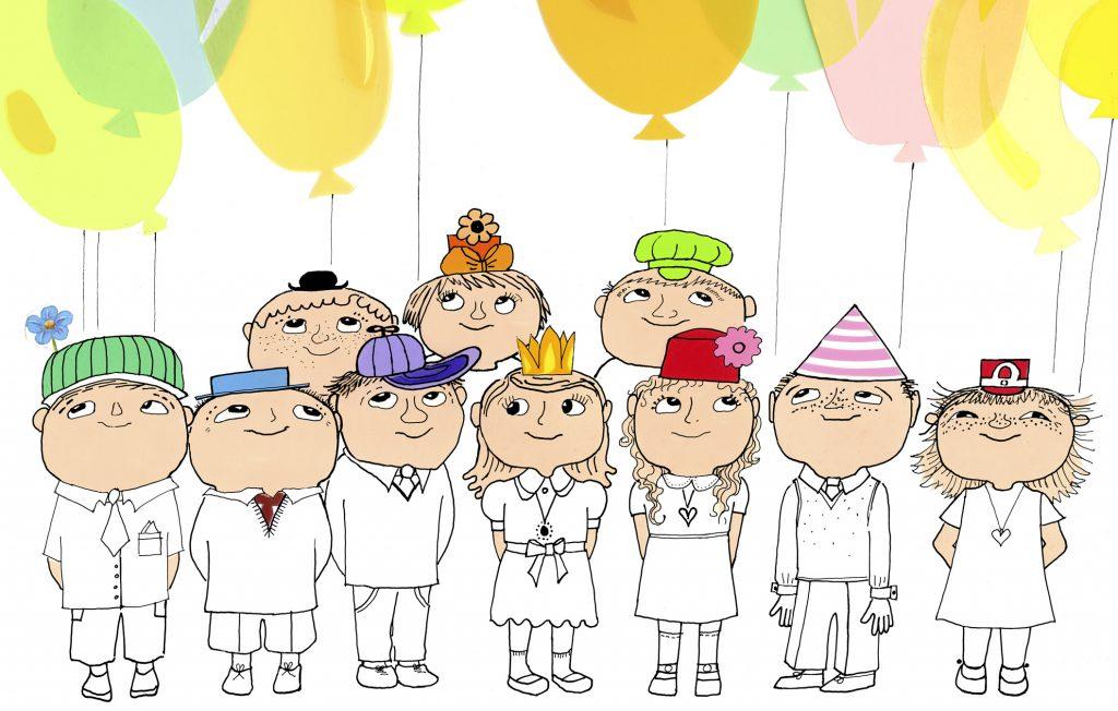 Illustration av kalasbild. Barn i färgade hattar och ballonger i luften. Alla ser glada ut.