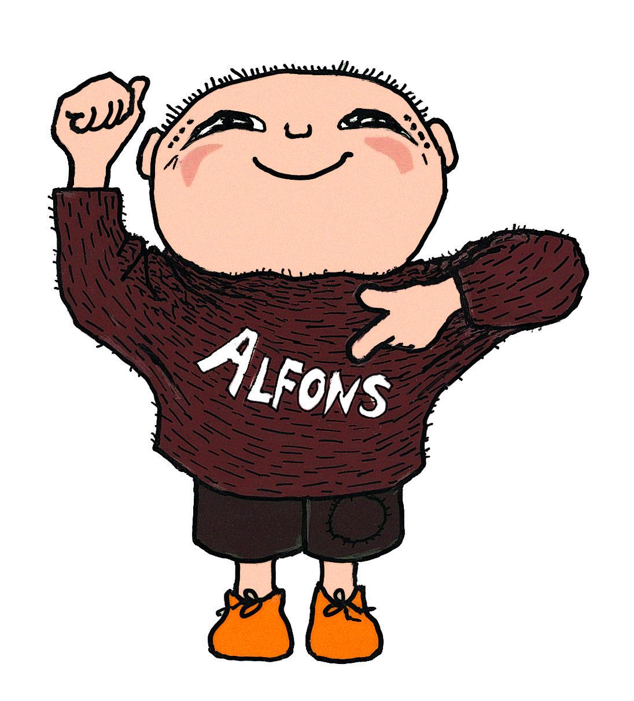 Alfons i brun tröja håller upp en knuten näve och pekar på sitt namn som står i vitt på den bruna tröjan med den andra handen.