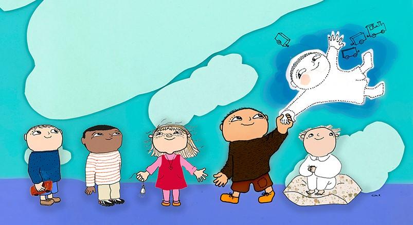 En bild i blått med Alfons fem kompisar. Från vänster syns Viktor, Hamid, Milla, Mållgan och Småtting. Alfons håller Mållgan i handen som svävar i luften.